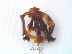 Antique Victorian 18k Solid Gold Carved Initial A Stick Pin Unique Design
