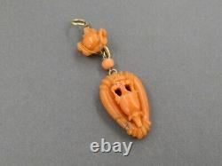 Antique Victorian 18k Yellow Gold Carved Vase Natural Coral Pendant 3.8g i3924