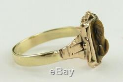 Antique Victorian 19th Century 14K Gold & Carved Tigers Eye Cameo Ring