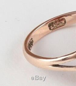 Antique Victorian 9Ct 9K Rose Gold Ring With Carved Coral Cameo