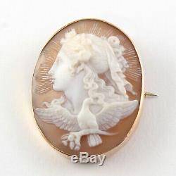 Antique Victorian 9Ct Gold Carved Cameo Brooch Of Allegory Of Day c 1890's
