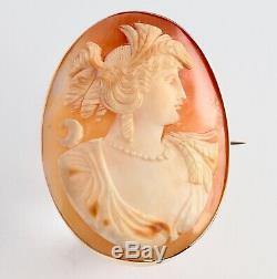 Antique Victorian 9Ct Gold Carved Cameo Brooch Of Female Bust, Signed on Back