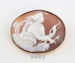 Antique Victorian 9Ct Gold Carved Cameo Brooch Of Goddess Diana