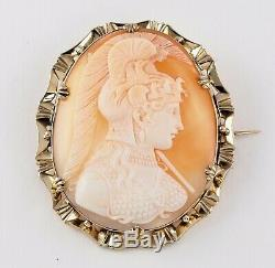 Antique Victorian 9Ct Gold Very Well Carved Cameo Brooch Of Goddess Athena