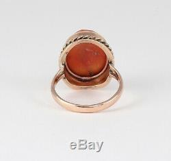 Antique Victorian 9Ct Rose Gold Ring With Carved Coral Cameo