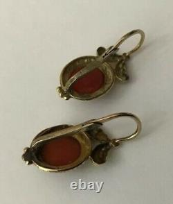 Antique Victorian 9ct 9k Gold Carved Coral Cherub Chased Engraved Earrings