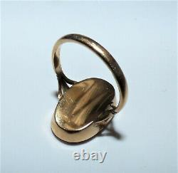 Antique Victorian 9ct Gold Carved Cinnabar Lotus Flower Ring Beautiful Bezel Set
