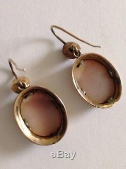 Antique Victorian 9ct Gold Carved Shell Cameo Earrings