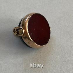 Antique Victorian 9ct Gold Carved Whitby Jet & Carnelian Spinning Swivel Fob Hm