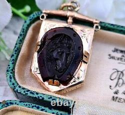 Antique Victorian 9ct Gold Engraved Shield Locket Pendant Carved Horse Cameo