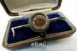 Antique Victorian 9ct Gold Essex Crystal Fox Brooch Reverse Carved Hunting Pin
