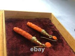Antique Victorian 9ct Gold Natural Carved Coral Pendulum Drop Earrings & Box