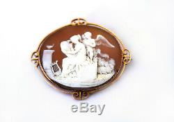 Antique Victorian 9ct Rose Gold Carved Cameo Brooch Pendant