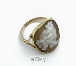 Antique Victorian 9ct Rose Gold Large Carved Shell Cameo Ring Small Size H. 5