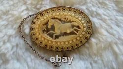Antique Victorian 9ct Rose Gold Mounted Carved Chinese Horse Scene Oval Brooch