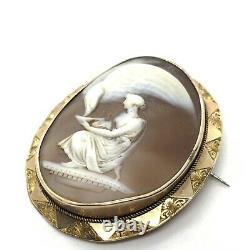 Antique Victorian 9ct gold Mythological carved cameo brooch EBT100