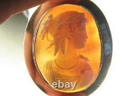 Antique Victorian 9k Gold Finely Carved Shell Hera / Juno Queen Cameo Brooch