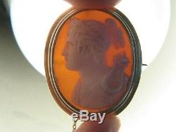 Antique Victorian 9k Gold Finely Carved Shell Orpheus & Lyre Cameo Brooch