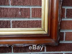 Antique Victorian ADIRONDACK Carved Twig WALNUT Gilt Gold Frame 14 x 17 in. Fit