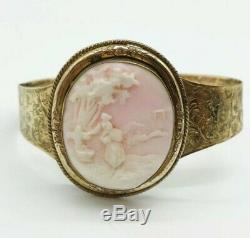 Antique Victorian Angel Skin Pink Carved Cameo Gold Gilt Cuff Bracelet