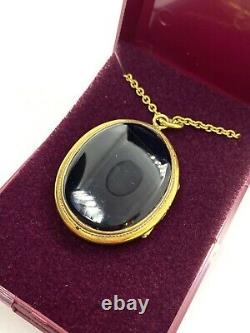 Antique Victorian Banded Agate & Carved Shell Cameo Gold Filled Locket Necklace