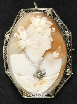 Antique Victorian Cameo Carved Shell Brooch Pin 14K Yellow & White Gold Pendant
