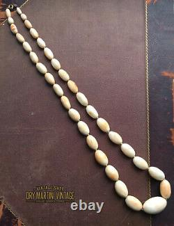 Antique Victorian Carved Angel Skin Conch Shell Beads Necklace 14ct Gold Clasp