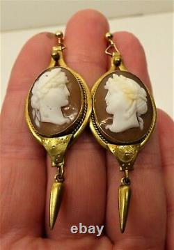 Antique Victorian Carved Cameo Drop Earrings Gilt Mounts Gold Wires Classical