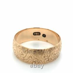 Antique Victorian Carved Cigar Band 14k Rosy Gold Sz 10.5