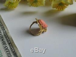 Antique Victorian Carved Coral Cameo Diamond 10K Gold Ring (VT73)