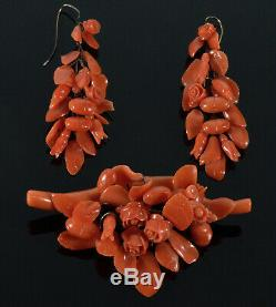 Antique Victorian Carved Coral Leaves & Flowers Earrings & Brooch C. 1860