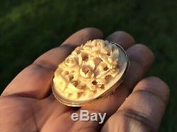 Antique Victorian Carved Dieppe Brooch. 9ct Gold. Roses Of Love Brooch. 1890
