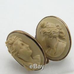 Antique Victorian Carved Lava High Relief Cameo Gold GF Earrings