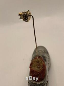 Antique Victorian Carved Lion Head Stickpin 14k Gold Estate Stick Pin Ruby Eyes