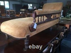 Antique Victorian Carved Mahogany Chaise Longues with mustard / gold velvet
