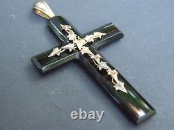 Antique Victorian Carved Mourning Jet Pendant Decorated 18ct. Gold Leaves 1860's
