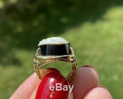 Antique Victorian Carved Onyx Cameo 14k Gold Ring