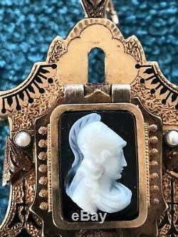 Antique Victorian Carved Onyx Cameo Pearl 14K Gold Pendant Brooch Pin
