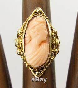 Antique Victorian Carved Pink Coral Cameo 14K Yellow Gold Ring Size 5.25