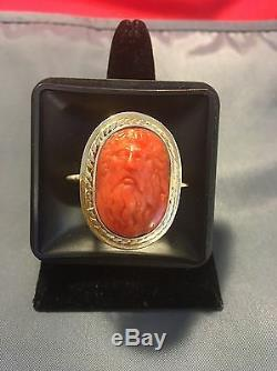 Antique Victorian Carved Red Coral Cameo 18k Gold Ring