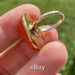 Antique Victorian Carved Red Salmon Coral Cameo 14k Gold Ring