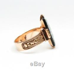 Antique Victorian Carved Sardonyx, Cameo Ring 14k/15k Gold