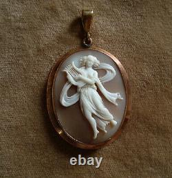 Antique Victorian Carved Shell Cameo Classical Dancer Musician 9ct Gold Pendant
