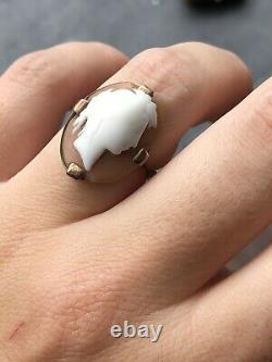 Antique Victorian Carved Shell Cameo Yellow Gold Large Ring Band