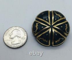Antique Victorian Carved Wood & Yellow Gold Inlay Birds Round Pin