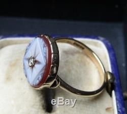 Antique Victorian Carving Sardonyx Star Diamond 375 ct. 9 ct. Gold Ring