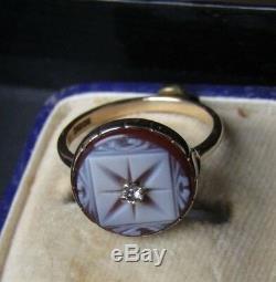 Antique Victorian Carving Sardonyx Star Diamond 375ct. 9k Gold Ring