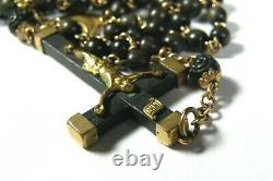 Antique Victorian Catholic Rosary Gold Filled Hand Carved Our Fathers Mary Jesus