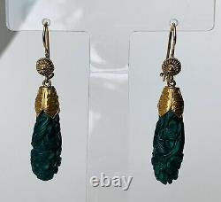 Antique Victorian Chinese 10K Gold & Carved Malachite Drop Dangle Earrings