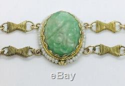 Antique Victorian Chinese 14k Gold Seed Pearl Carved Jade & Carnelian Bracelet